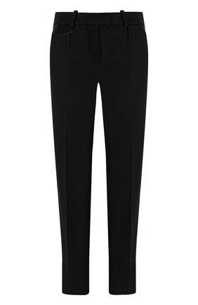 Однотонные укороченные брюки со стрелками Giorgio Armani черные | Фото №1