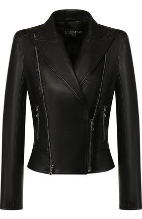 Приталенная кожаная куртка с косой молнией Balmain черный   Фото №1