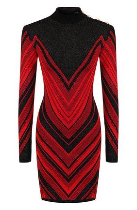 Вязаное мини-платье с металлизированной нитью и воротником-стойкой | Фото №1