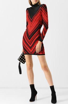 Вязаное мини-платье с металлизированной нитью и воротником-стойкой Balmain красное   Фото №1