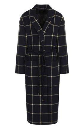 Шерстяное пальто в клетку с поясом и карманами Mother Of Pearl темно-синего цвета | Фото №1