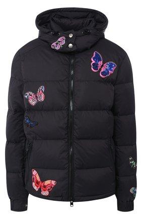 Стеганая куртка с декоративными нашивками и капюшоном | Фото №1