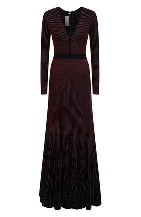 Приталенное платье-макси с V-образным вырезом и металлизированной нитью   Фото №1