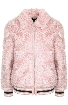 Меховая куртка из овчины на молнии Markus Lupfer розовая | Фото №1
