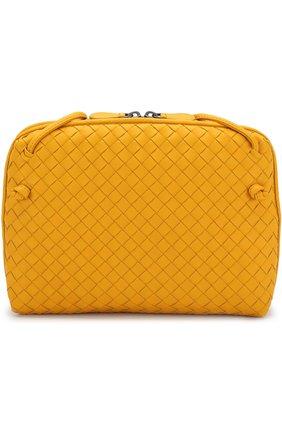 Кожаная сумка Messenger с плетением intrecciato Bottega Veneta желтая цвета | Фото №1