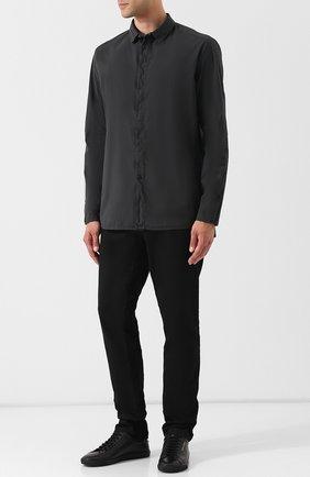 Рубашка из смеси хлопка и льна с воротником кент Transit белая | Фото №1