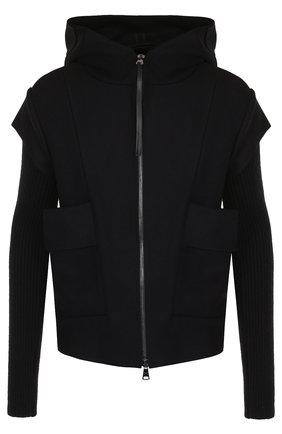 Шерстяная куртка на молнии с капюшоном | Фото №1