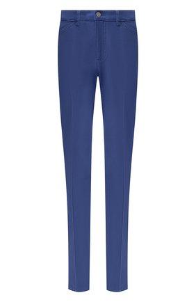 Однотонные джинсы прямого кроя со стрелками Escada синие   Фото №1