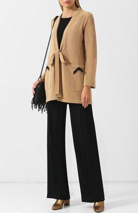 Кардиган из смеси шерсти и кашемира с поясом и накладными карманами Escada бежевый   Фото №1