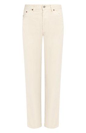 Однотонные укороченные  джинсы прямого кроя Jacquemus кремовые   Фото №1
