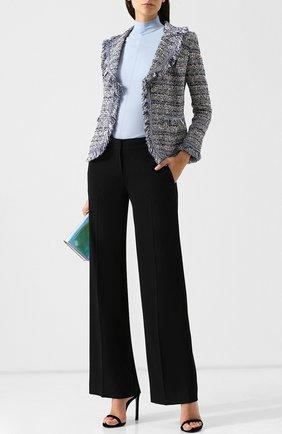Однотонный пуловер с укороченным рукавом и воротником-стойкой Escada голубой   Фото №1