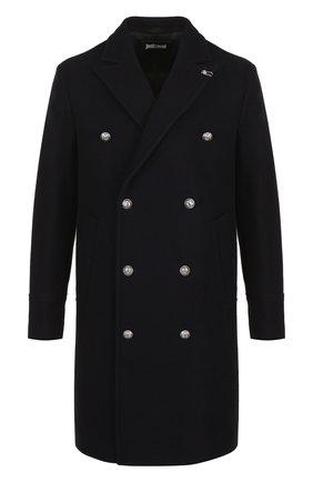 Двубортное шерстяное пальто  Just Cavalli темно-синего цвета | Фото №1