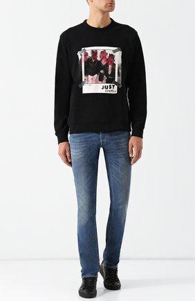 Хлопковый свитшот с принтом Just Cavalli черный | Фото №1