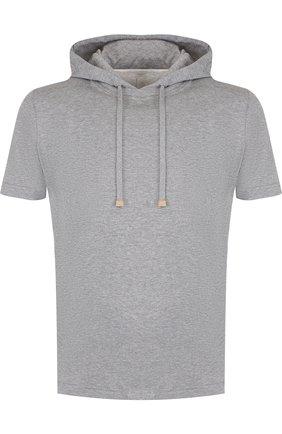 Хлопковое худи с короткими рукавами Eleventy Platinum серый | Фото №1
