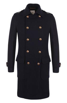 Двубортное пальто из смеси шерсти и кашемира Eleventy Platinum синего цвета | Фото №1