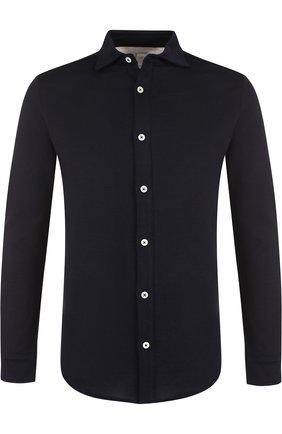Хлопковая рубашка с воротником кент Eleventy Platinum синяя | Фото №1