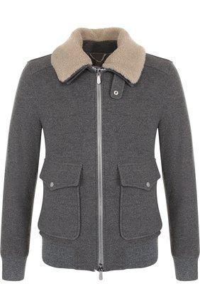 Куртка из смеси шерсти и кашемира с меховой отделкой воротника | Фото №1