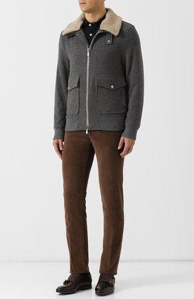 Куртка из смеси шерсти и кашемира с меховой отделкой воротника Eleventy Platinum темно-серая | Фото №1