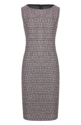 Вязаное платье без рукавов с воротником-лодочка St. John розовое | Фото №1