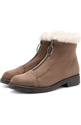Замшевые ботинки с отделкой из овчины Baldan черные | Фото №1