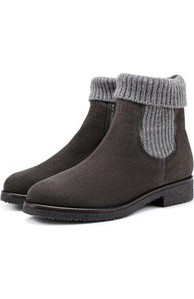 Замшевые ботинки с текстильной отделкой Baldan серые | Фото №1