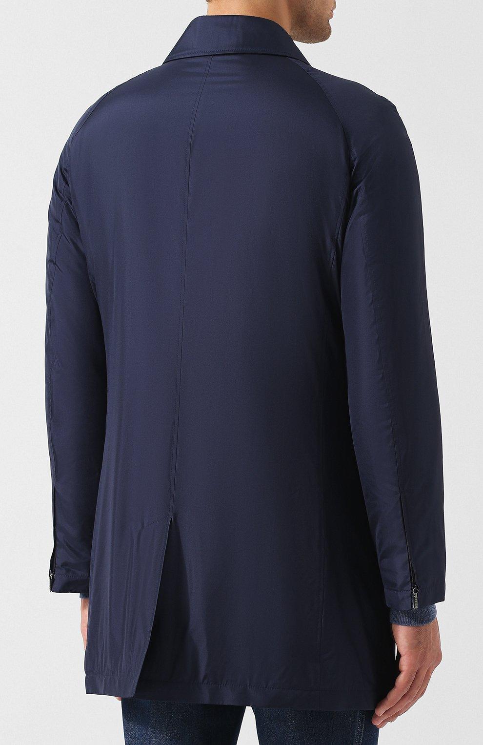Мужской шелковый плащ на молнии прямого кроя ZILLI темно-синего цвета, арт. MAQ-TIMBU-30036/0002 | Фото 4