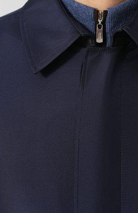 Мужской шелковый плащ на молнии прямого кроя ZILLI темно-синего цвета, арт. MAQ-TIMBU-30036/0002 | Фото 5