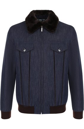 Джинсовая куртка на молнии с меховой отделкой воротника | Фото №1