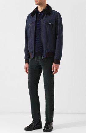 Мужская джинсовая куртка на молнии с меховой отделкой воротника ZILLI темно-синего цвета, арт. MCQ-00069-ITDE2/R002 | Фото 2