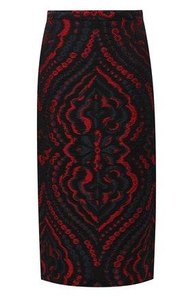 Юбка из смеси шелка и хлопка с вышитым принтом Roland Mouret черная   Фото №1