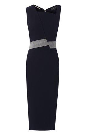 Приталенное платье-миди с декоративной отделкой Roland Mouret синее   Фото №1