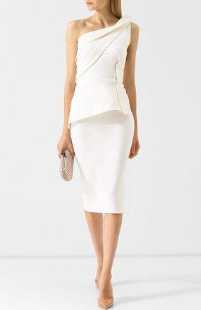 Приталенное шерстяное платье-миди с оборками Roland Mouret розовое   Фото №1