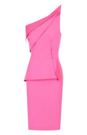 Приталенное шерстяное платье-миди с оборками