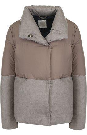 Стеганая куртка с воротником-стойкой Eleventy Platinum темно-бежевая | Фото №1
