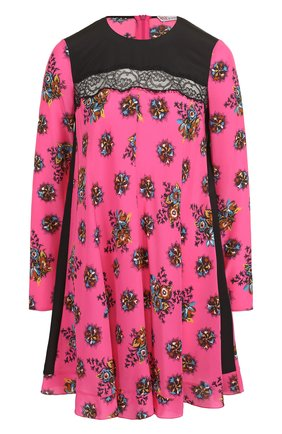 Шелковое мини-платье с принтом REDVALENTINO фуксия | Фото №1