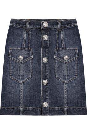 Джинсовая мини-юбка с декоративными пуговицами | Фото №1