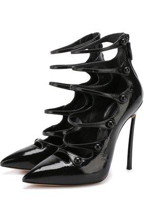 Лаковые туфли с ремешками на шпильке Blade Casadei черные   Фото №1