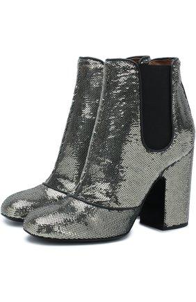 Ботильоны Mila с вышивкой пайетками на устойчивом каблуке Laurence Dacade серебряные | Фото №1