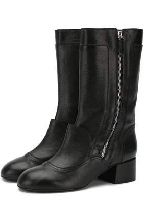 Кожаные сапоги Sandy на устойчивом каблуке Laurence Dacade черные | Фото №1