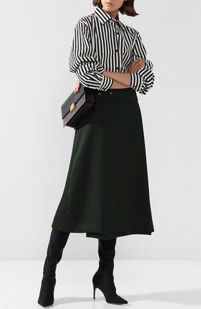 Текстильные сапоги на шпильке Sergio Rossi черные   Фото №1