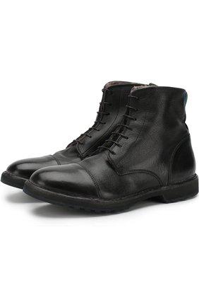 Кожаные ботинки с внутренней меховой отделкой Moma черные | Фото №1