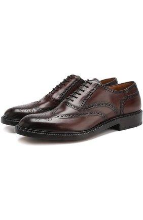 Кожаные оксфорды на шнуровке с брогированием Antonio Maurizi коричневые | Фото №1