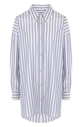Женская хлопковая блуза свободного кроя в полоску Isabel Marant, цвет синий, арт. CH0271-18A042I/MACA в ЦУМ   Фото №1