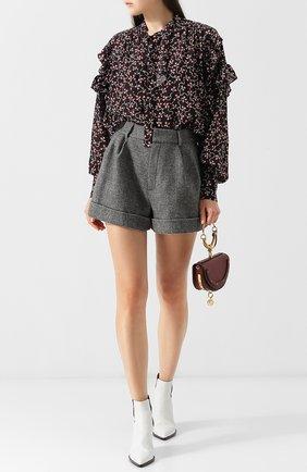 Женская шелковая блуза с оборками и принтом Isabel Marant, цвет черный, арт. HT1241-18A023I/LIBEL в ЦУМ   Фото №1
