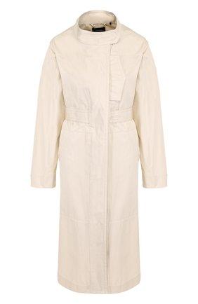 Хлопковое пальто с поясом и воротником-стойкой Isabel Marant кремвого цвета   Фото №1