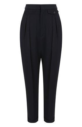 Укороченные брюки со стрелками и отворотами Isabel Marant темно-синие   Фото №1