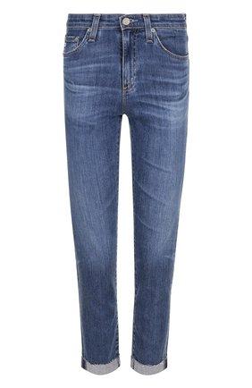 Укороченные джинсы с потертостями и отворотами   Фото №1