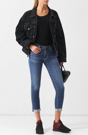 Укороченные джинсы с потертостями и отворотами Ag синие   Фото №1