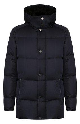 Стеганая куртка с капюшоном и внутренней меховой отделкой | Фото №1