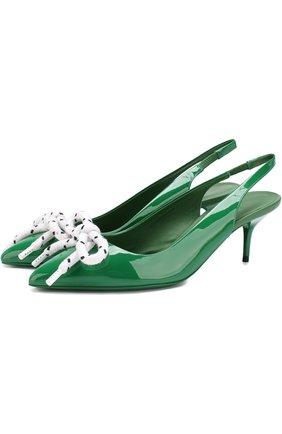 Лаковые туфли на каблуке kitten heel Burberry зеленые   Фото №1